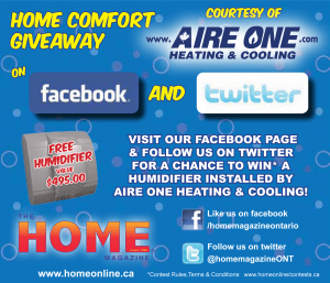 Win a Free Humidifier, professionally installed by Aire One